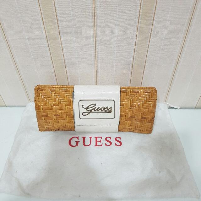 Guess Rattan White Leather Clutch ORI
