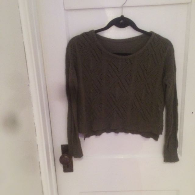 Hunter Green Cropped Sweater