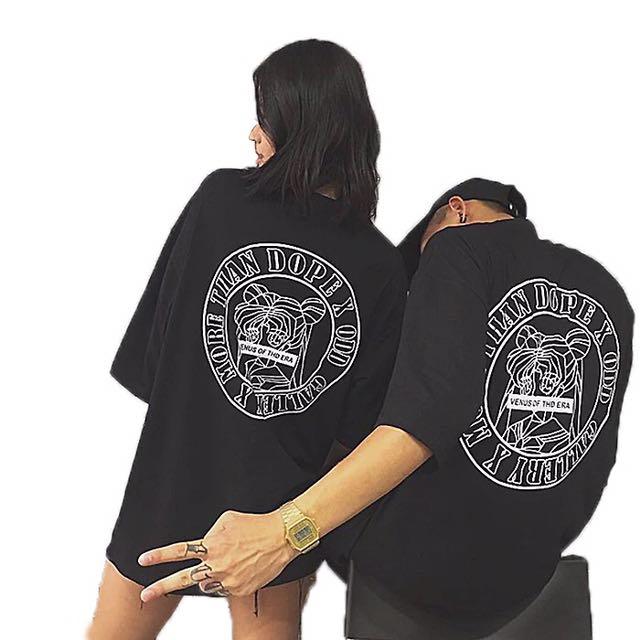 韓版INS潮人時尚哥特字母美少女印花寬松短袖T恤情侶