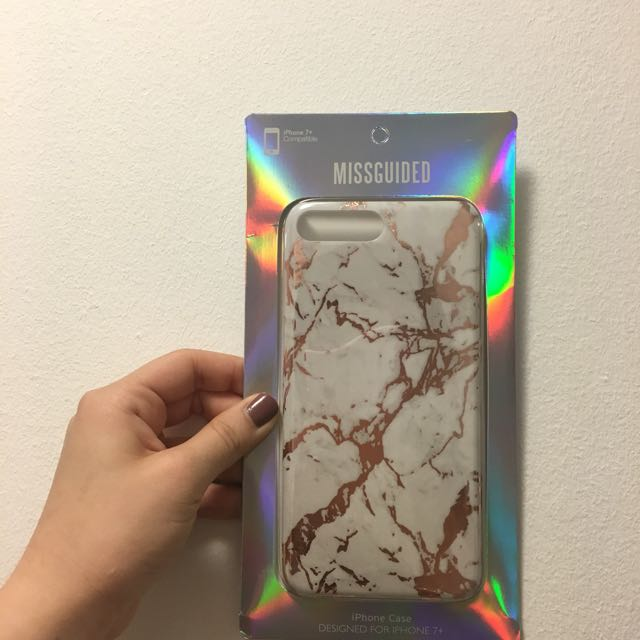 iPhone 7 + Rose Gold Marble Phone Case