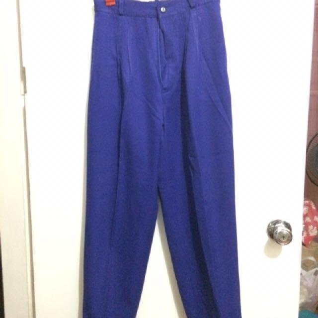 Designer Pants -royal Blue High Waist Tapered Pants