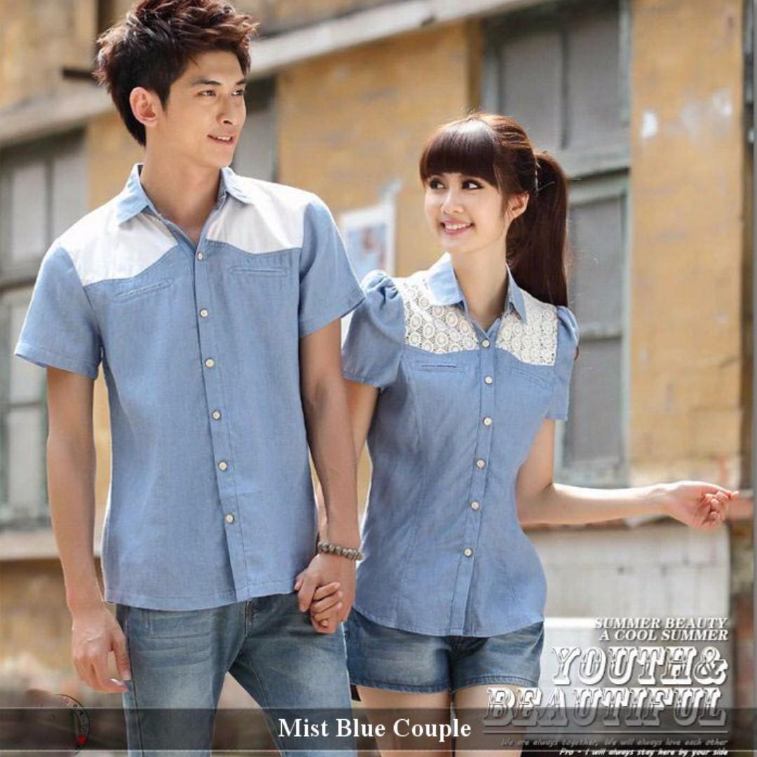 Jual Couple Murah - Baju Couple Online - Kemeja Couple Mist Blue ... 445c3a561f