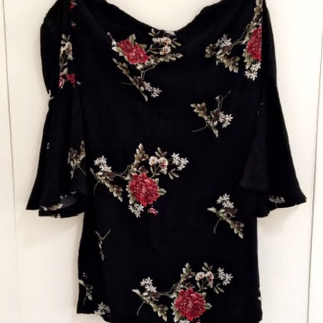 Off Shoulder Black Floral Dress