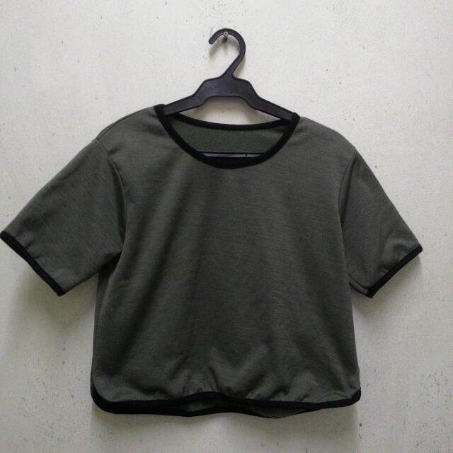 Olive Green Cropped Top