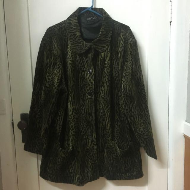 Oversized Green Leopard Print Coat