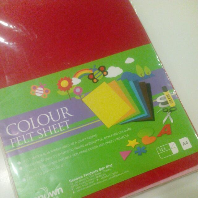 Pack Of A4 Felt sheets (15) Many Colours Craft Cut Out Picture Making