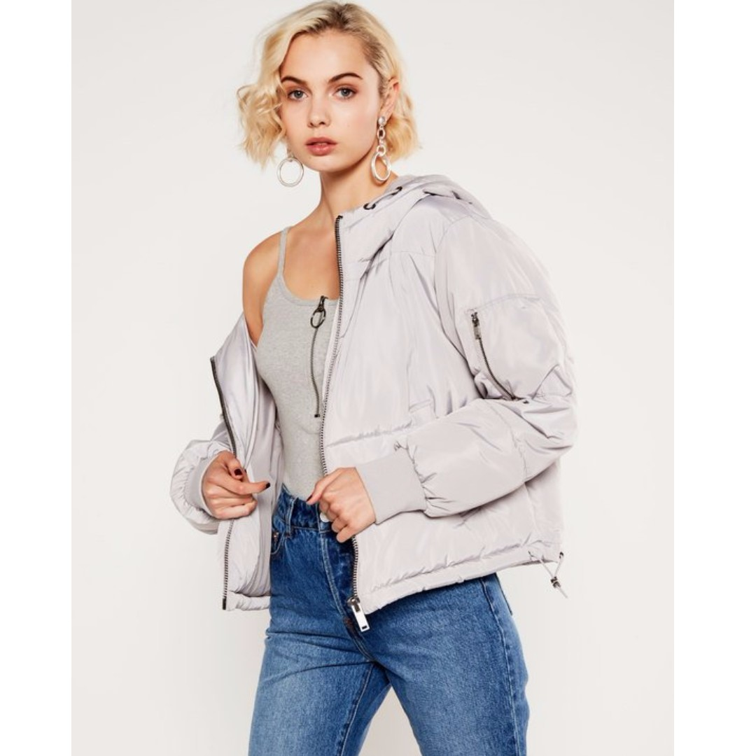 (PRICE DROPPED) Glassons Bomber Puffer Jacket Light Grey ...