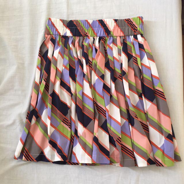Printed Mini Skirt With Pleats