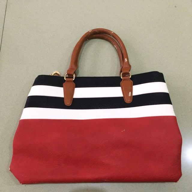 Red BnW Stripes Handbag