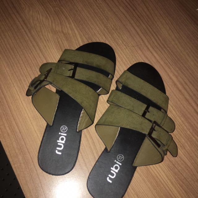 Rubi Shoes Khaki Slides