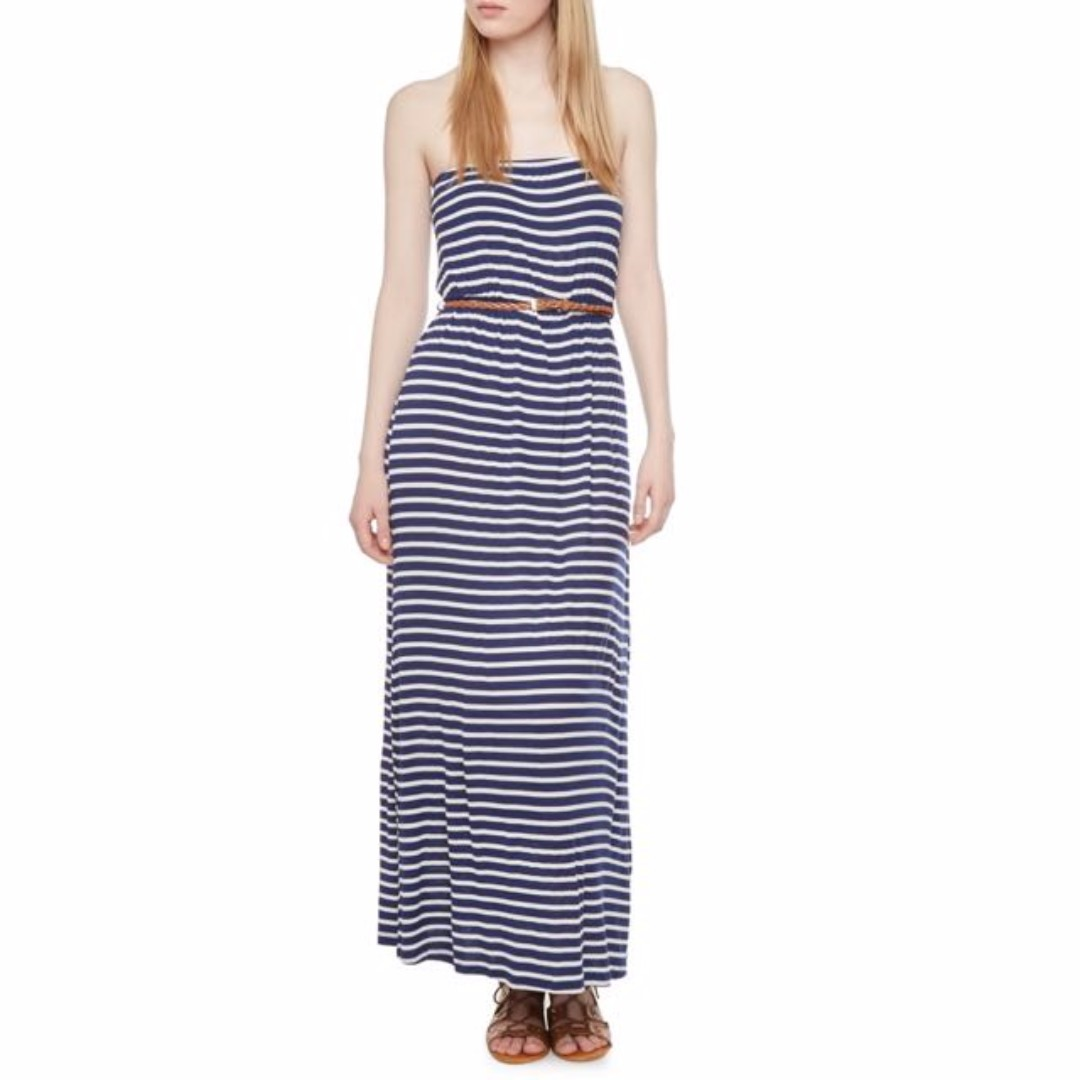 ‼️SALE ‼️🆕 Navy Blue Striped Tube Maxi Dress