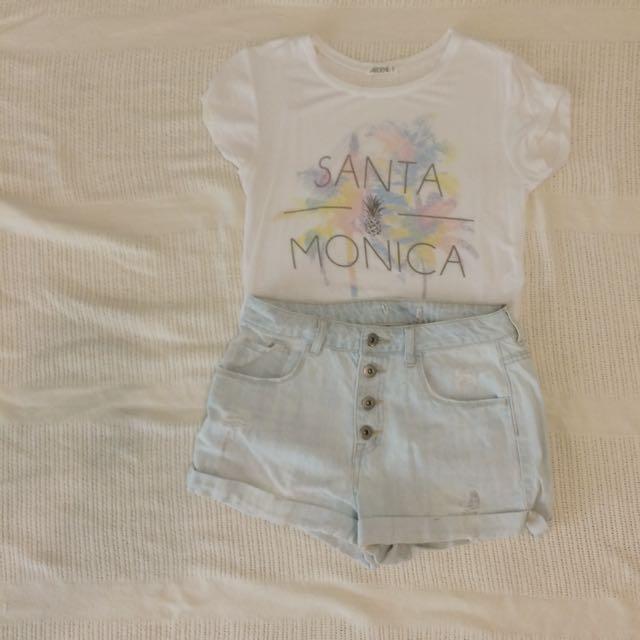 santa monica tshirt with high waisted shorts