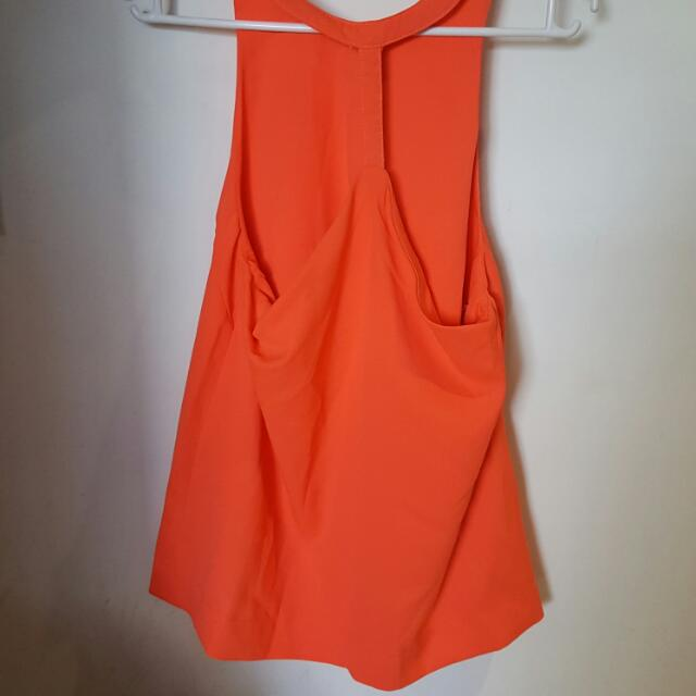 Size 6 Orange Backless Xenia Boutique Top