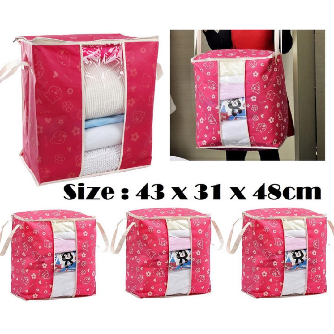Storage organizer Bag - Pink Fanta Bear Head ( Berdiri/Stand)