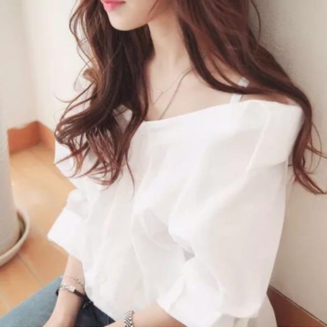 上衣💎唯美純白一字領寬鬆襯衫S~XL