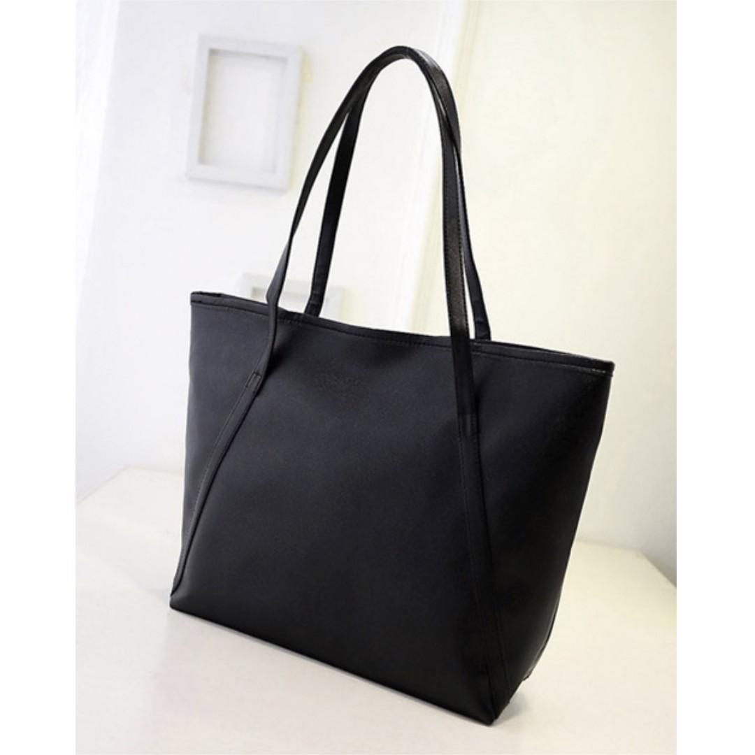 Tas Wanita Women Fashion PU Tote Leather Handbags Shoulder Bags - Hitam