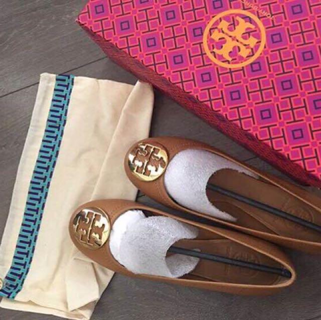 Tory burch reva ballet royal tan/gold Size 7,5