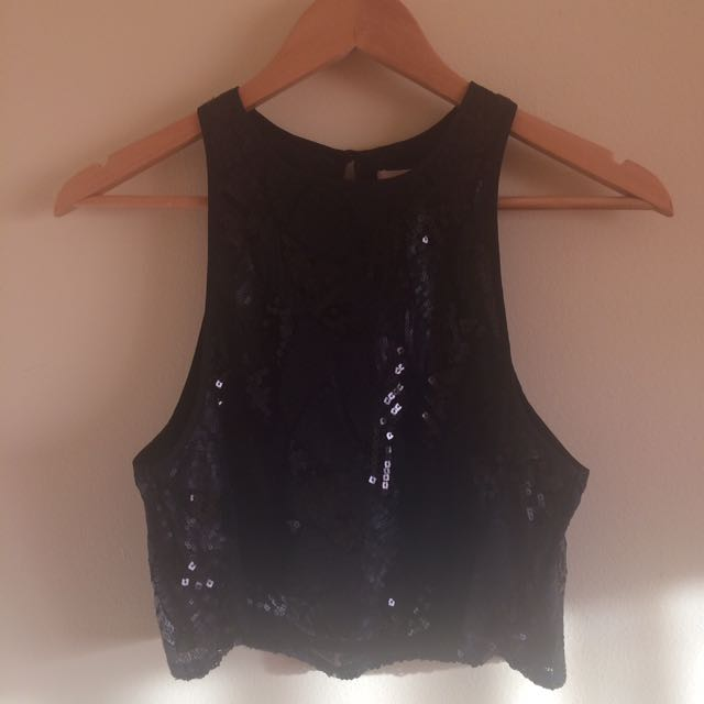 URBAN OUTFITTERS BLACK SEQUIN CROP TOP