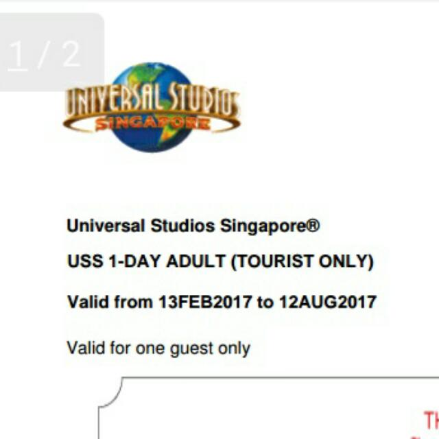 Uss Ticket Universal Studios Singapore