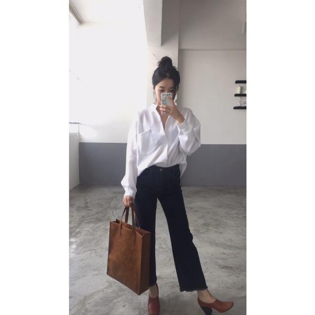 歐美時尚慵懶氣質大V領寬鬆襯衫