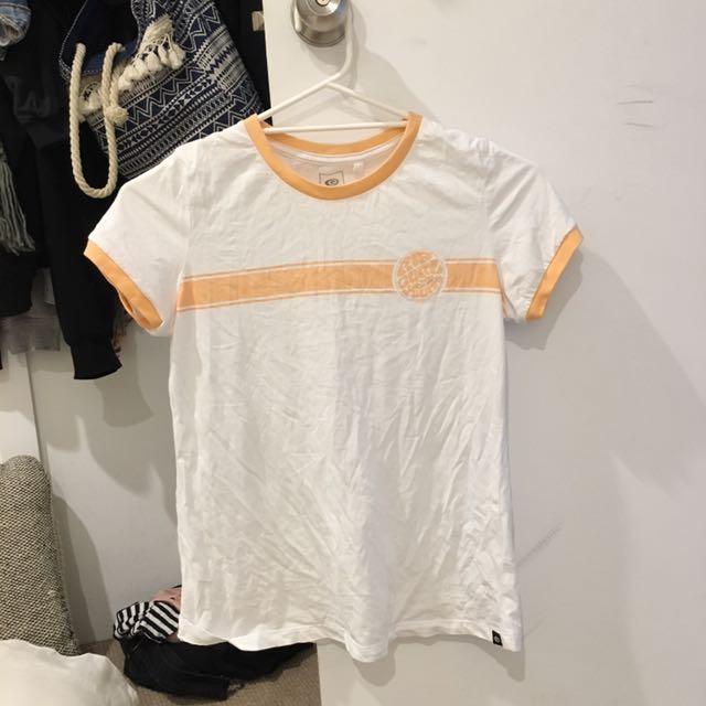 White Tshirt- brand is 'ripcurl' size 6