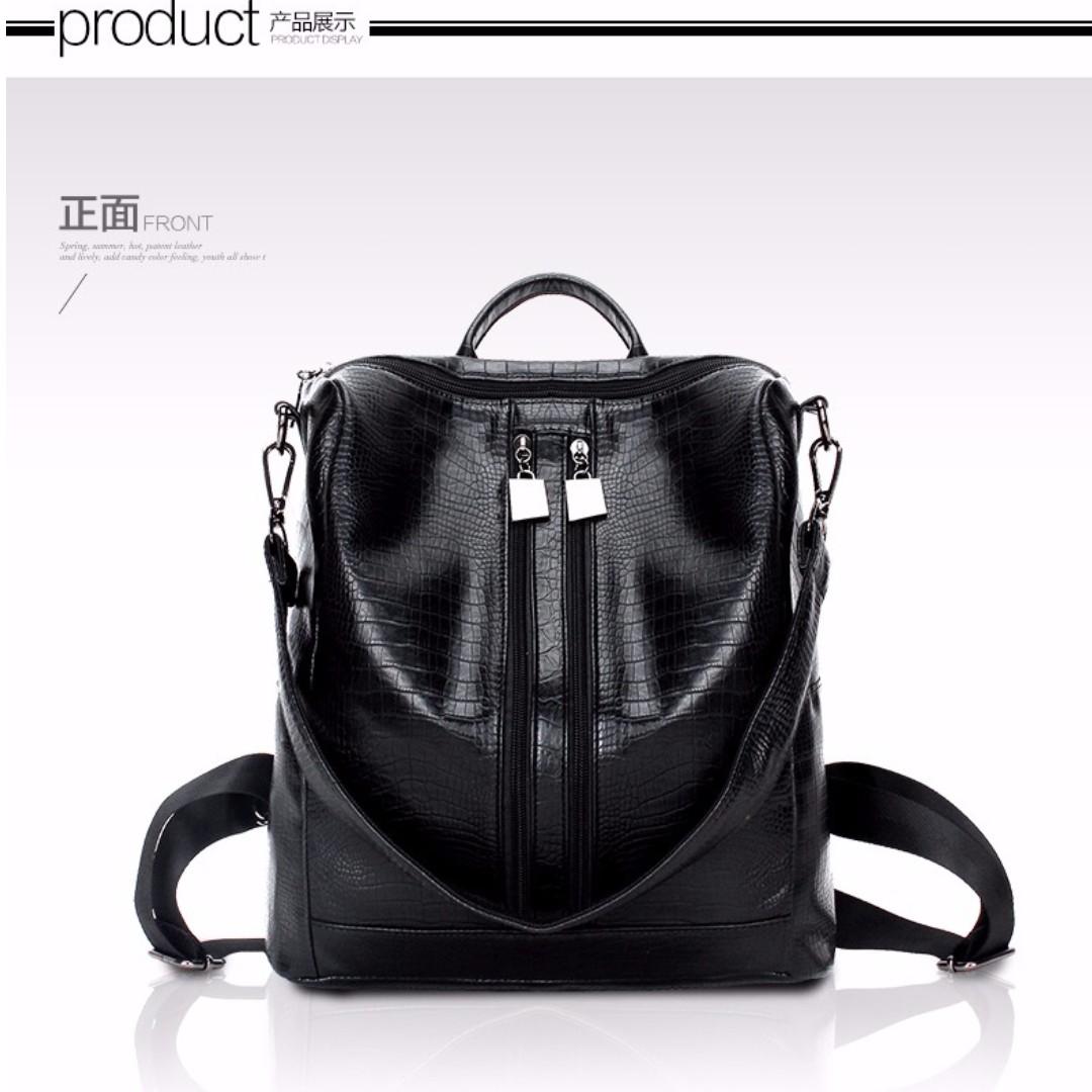 Women girl The New Double Shoulder Bag Backpack(Black)