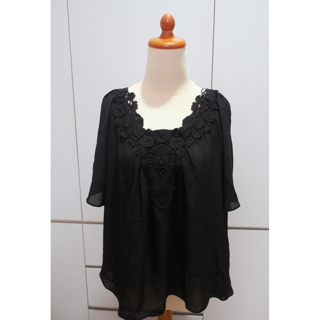 ZARA Bacis Black Embroidered Top