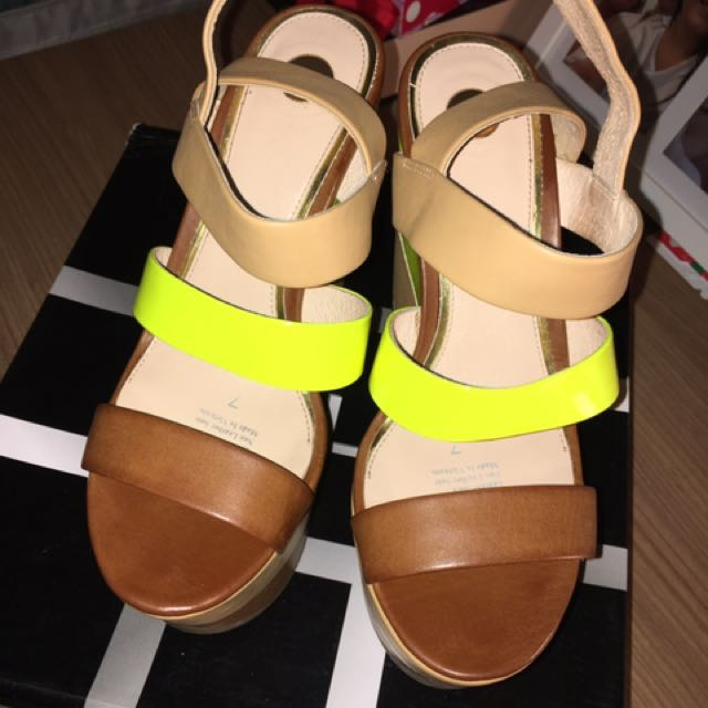 Zu Shoes Tan And Fluro Wedges