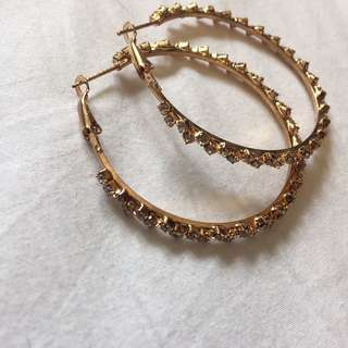 NEW Hoop Earrings With Silver Stones