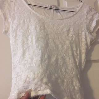 Women's White Guess Crop Top