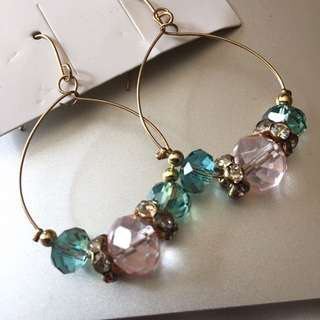 Teal and Pink Earrings