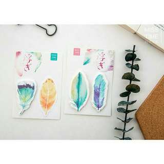 JAPAN FEATHERS POST IT NOTE WATER COLOR DESIGN