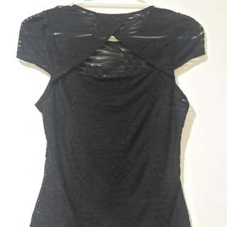 Size 8 Cue Black Top With Keyhole Back