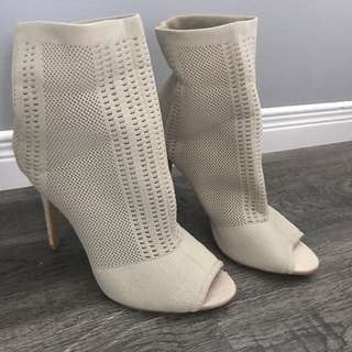 Beige Knit Peep Toe Heeled Ankle Boots