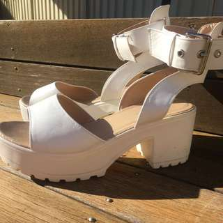 Boohoo white Heal Platform Shoes.