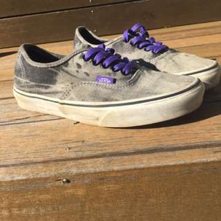 VANS - Grey Acid Washed With Purple Laces