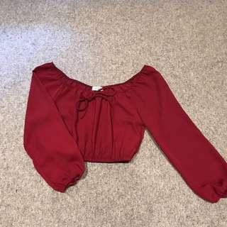 Tobi Red Cropped Top