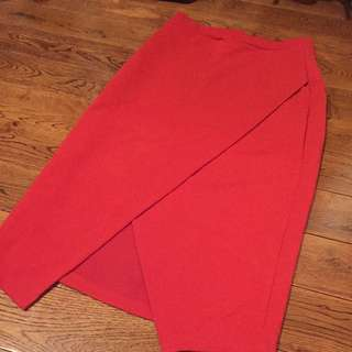 NEW Red Midi Skirt