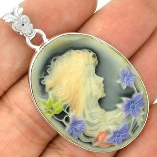 Modern Take On Antique Cameo 925 Sterling Silver Pendant