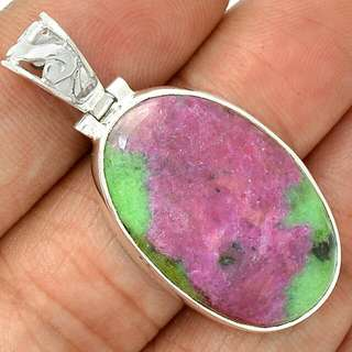 Designer Ooak Ruby Zosite 925 Sterling Silver Pendant Nearly 2 Inches