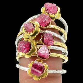 Designer Ooak Pink Tourmaline Rough Stone Sterling Ring