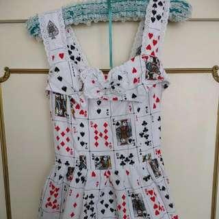 Size 10-12 Card Print Skater Dress
