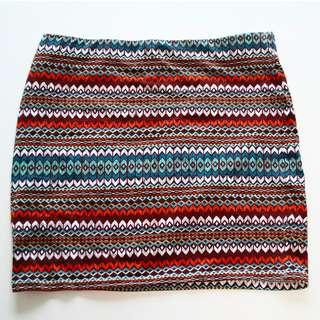 Colourful pattern mini skirt