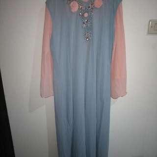 Dress Warna Biru Muda Kombinasi Peach