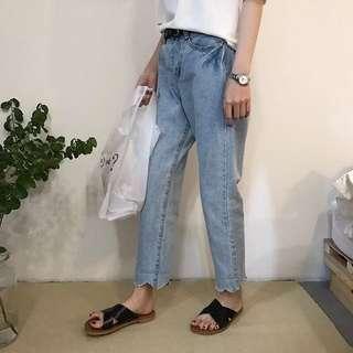 復古直筒牛仔褲 舊刷色感