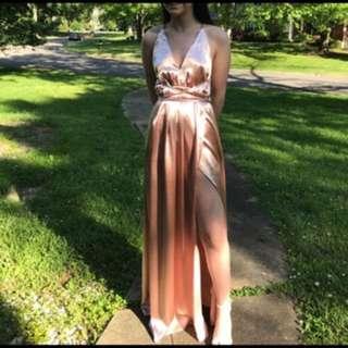 Rose Silk Formal / Evening Dress