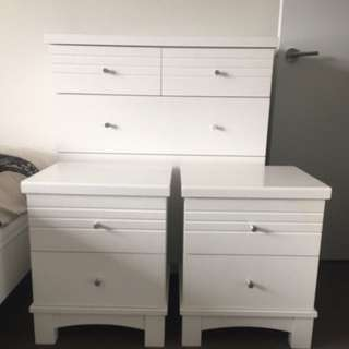 White Tall Boy + Bed Side Drawers