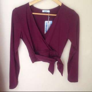 Maroon Crop Long Sleeve Tie Top
