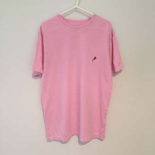 Embroidered Rose Tee In Pink