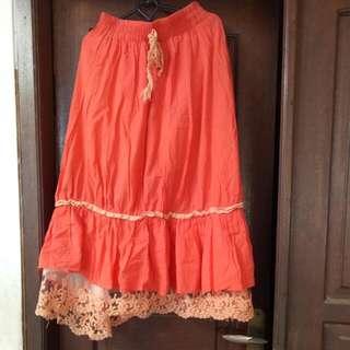 Orange Gypsy Skirt
